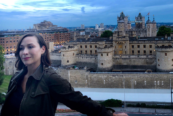 Linds Hugo with Tower of London in background