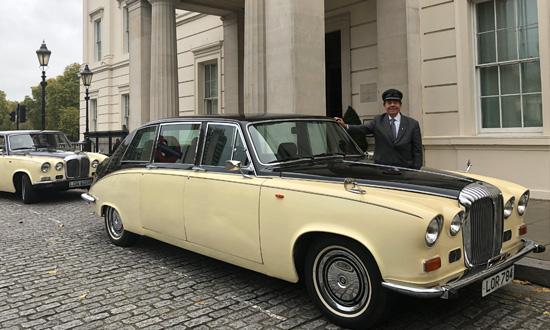 Queen Mother's Daimler outside Lanesborough Hotel